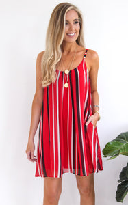 FAN DRESS - BLACK/RED