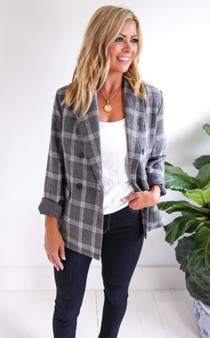 HEDRON DOUBLE BUTTON BLAZER - GREY