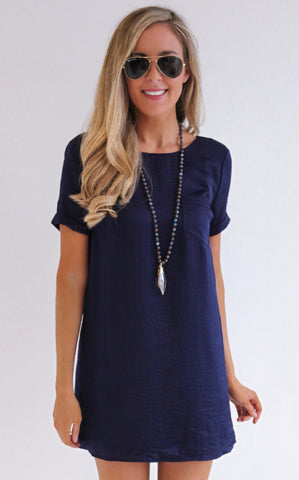 ELLE LAIN - SATIN POCKET DRESS NAVY
