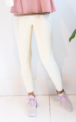 ELLE LAIN - TEXTURED LEOPARD LEGGINGS -CREAM