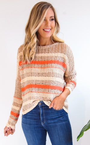 ELLE LAIN - FISHNET SWEATER - ORANGE
