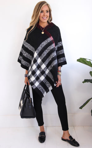 ASPEN PLAID PONCHO - BLACK