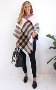 ASPEN PLAID PONCHO - CREAM