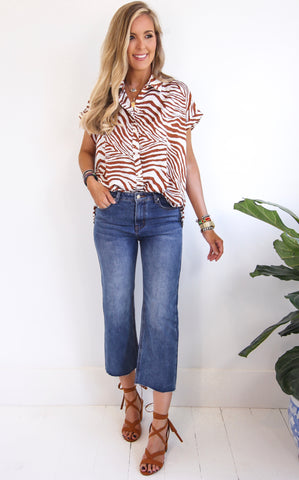 DENISE ZEBRA TOP - RUST