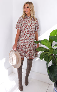 ELLE LAIN - RUST FLORAL DRESS