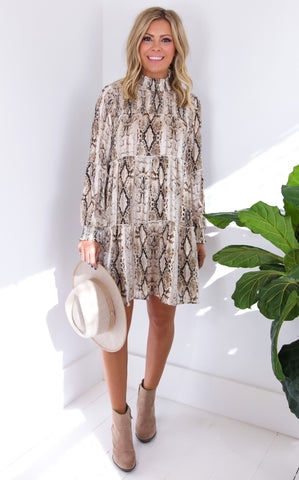 SMOCKED PYTHON DRESS