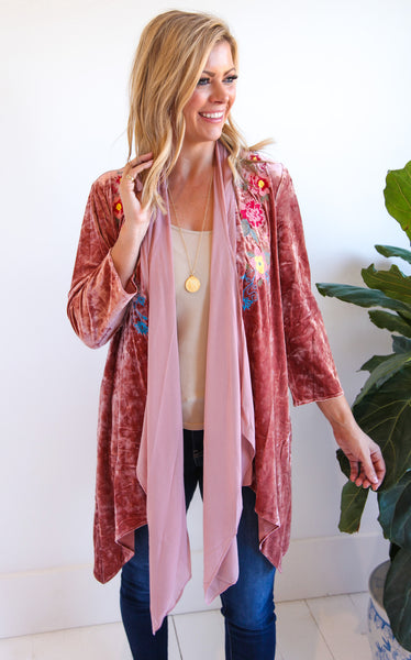 GWYNETH VELVET CARDIGAN - ROSE