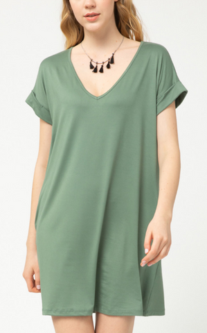 EASY TEE DRESS - ARMY