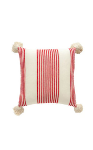 COTTON STRIPE PILLOW - RED