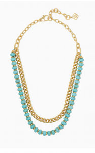Rebecca Gold Multi Strand Necklace - Variegated Turquoise Magnesite