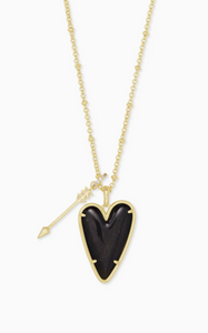Ansley Heart Gold Long Pendant Necklace - Golden Obsidian