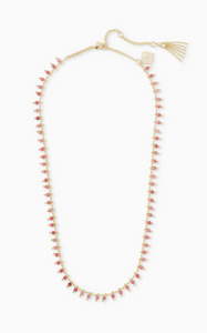 Jenna Gold Choker Necklace - Pink Rhodonite