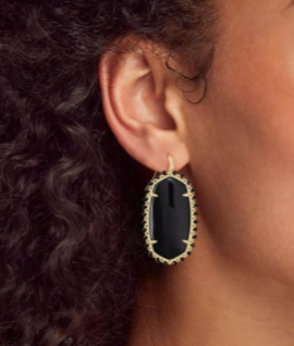 Beaded Danielle Gold Drop Earrings - Black Obsidian