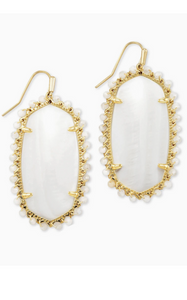 Beaded Danielle Gold Drop Earrings - White Mussel