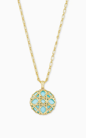 Natalie Gold Long Pendant Necklace - Light Blue Magnesite