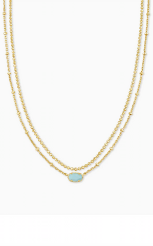 Emilie Gold Multi Strand Necklace - Light Blue Magnesite