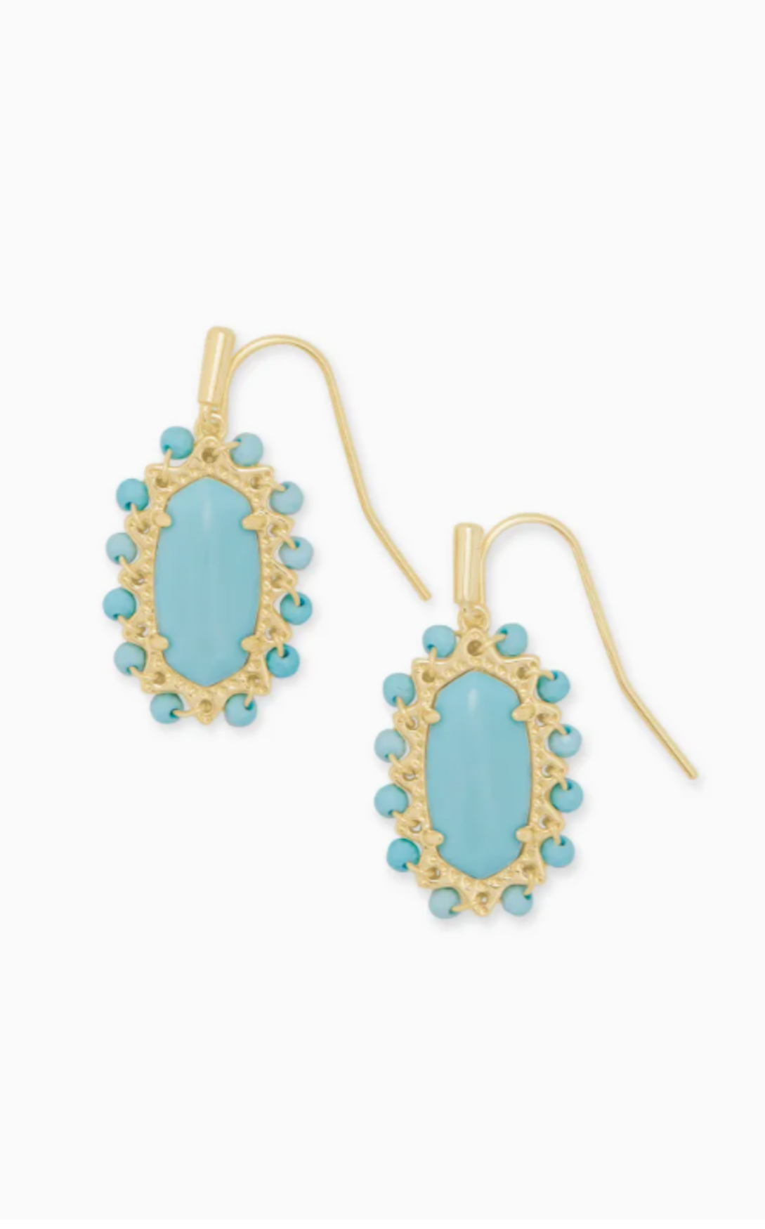 Beaded Lee Gold Drop Earrings - Light Blue Magnesite
