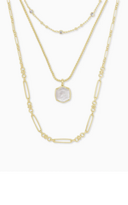 Davis Gold Triple Strand Necklace - Ivory Mother Of Pearl