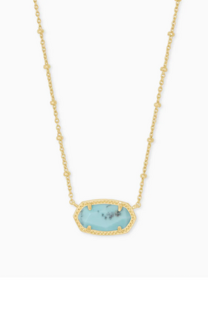 Elisa Satellite Gold Pendant Necklace - Light Blue Magnesite