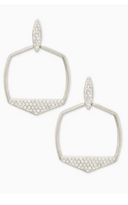 Selena Open Frame Earrings - Silver