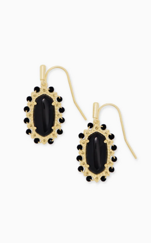 Beaded Lee Gold Drop Earrings - Black Obsidian