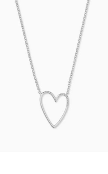 Ansley Heart Pendant Necklace - Silver