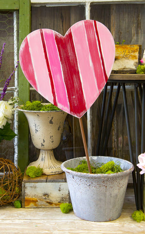 VERTICAL STRIPE HEART STAKE - INCLUDES ADDITIONAL SHIPPING
