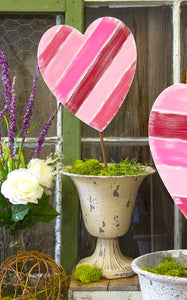 DIAGONAL STRIPE HEART STAKE - INCLUDES ADDITIONAL SHIPPING