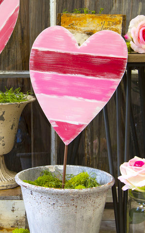 HORIZONTAL STRIPE HEART STAKE - INCLUDES ADDITIONAL SHIPPING