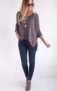 ELLA KNIT V-NECK - GREY