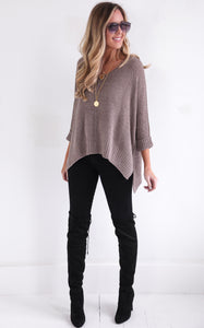 ELLA KNIT V-NECK - TAUPE