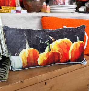 WATERCOLOR PUMPKIN LUMBAR PILLOW