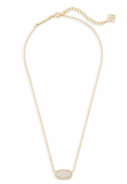 ELISA GOLD NECKLACE IRIDESCENT DRUSY