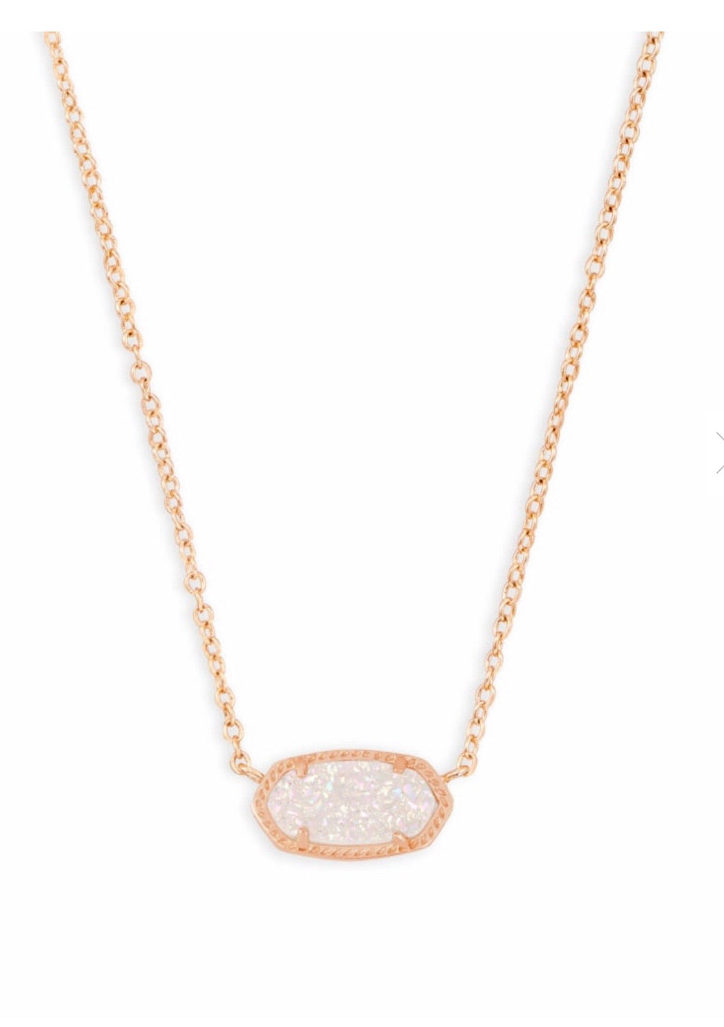 ELISA ROSE GOLD NECKLACE IRIDESCENT DRUSY