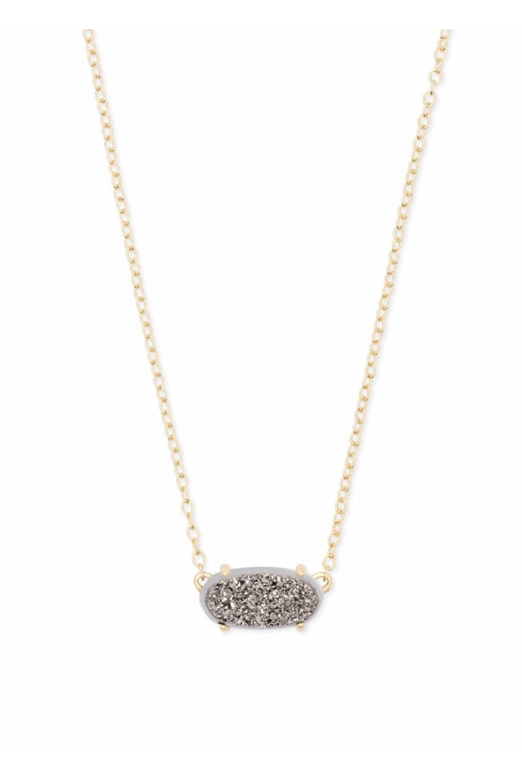 EVER GOLD PENDANT NECKLACE PLATINUM DRUSY
