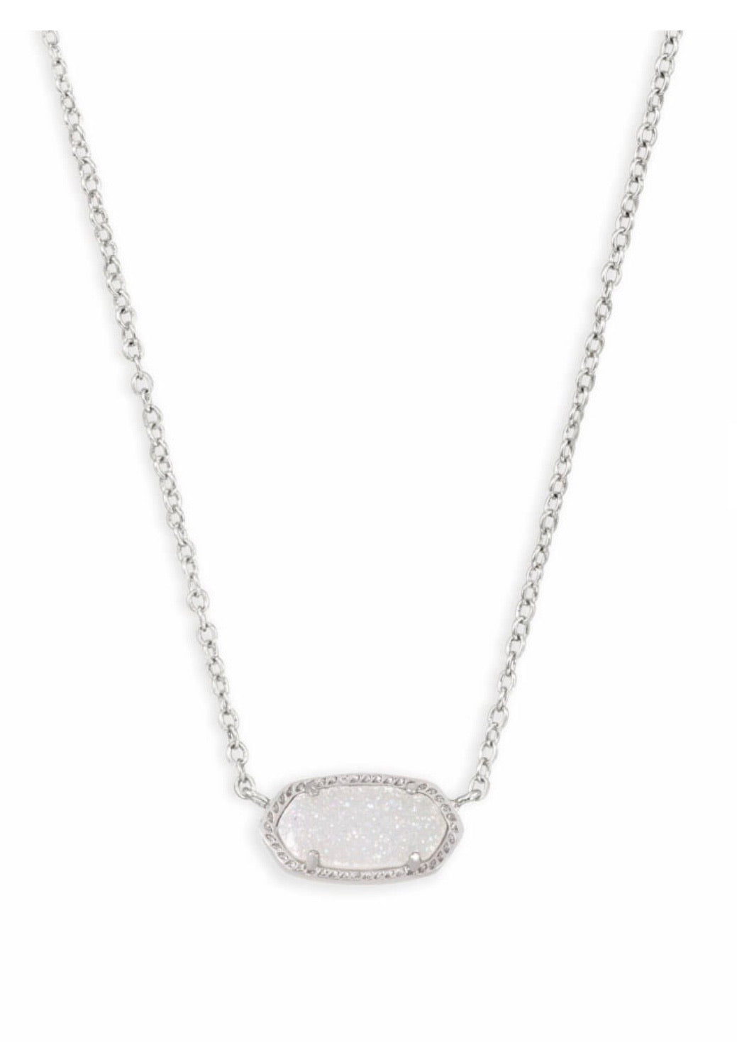 ELISA SILVER NECKLACE IRIDESCENT DRUSY