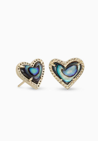 ARI HEART GOLD STUD - ABALONE SHELL
