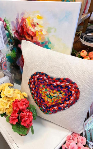 BRAIDED HEART PILLOW - INCLUDES ADDITIONAL SHIPPING