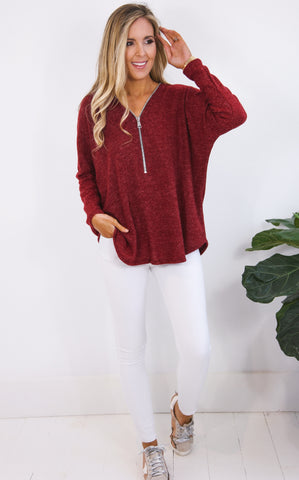 PAM ZIP UP SWEATER - WINE