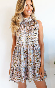 ELLE LAIN - SILK LEOPARD DRESS -PINK