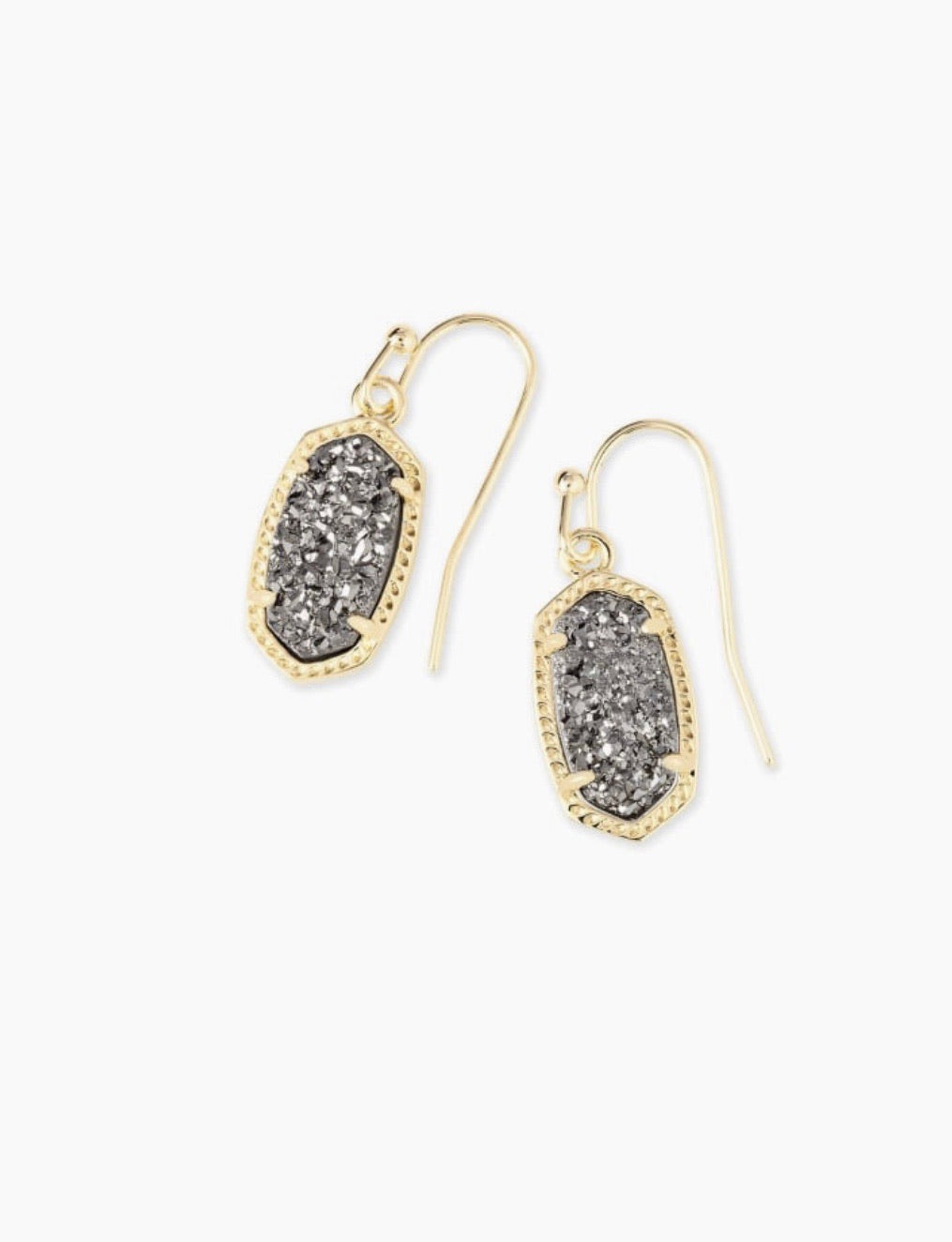LEE GOLD DROP EARRINGS - PLATINUM DRUSY