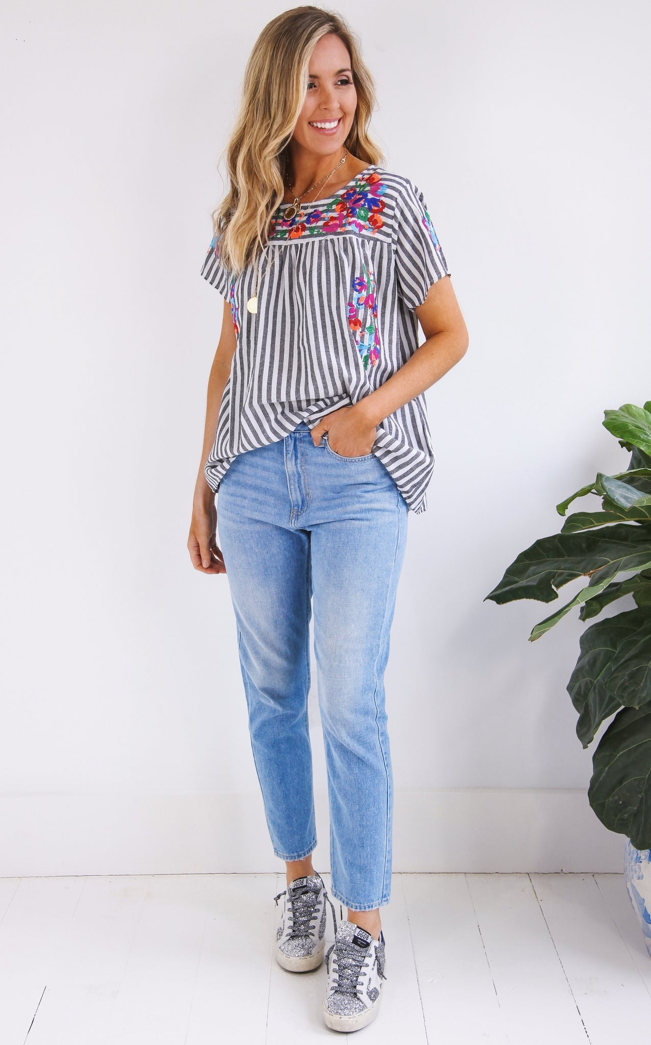 CHULA TOP - BLACK/WHITE STRIPE