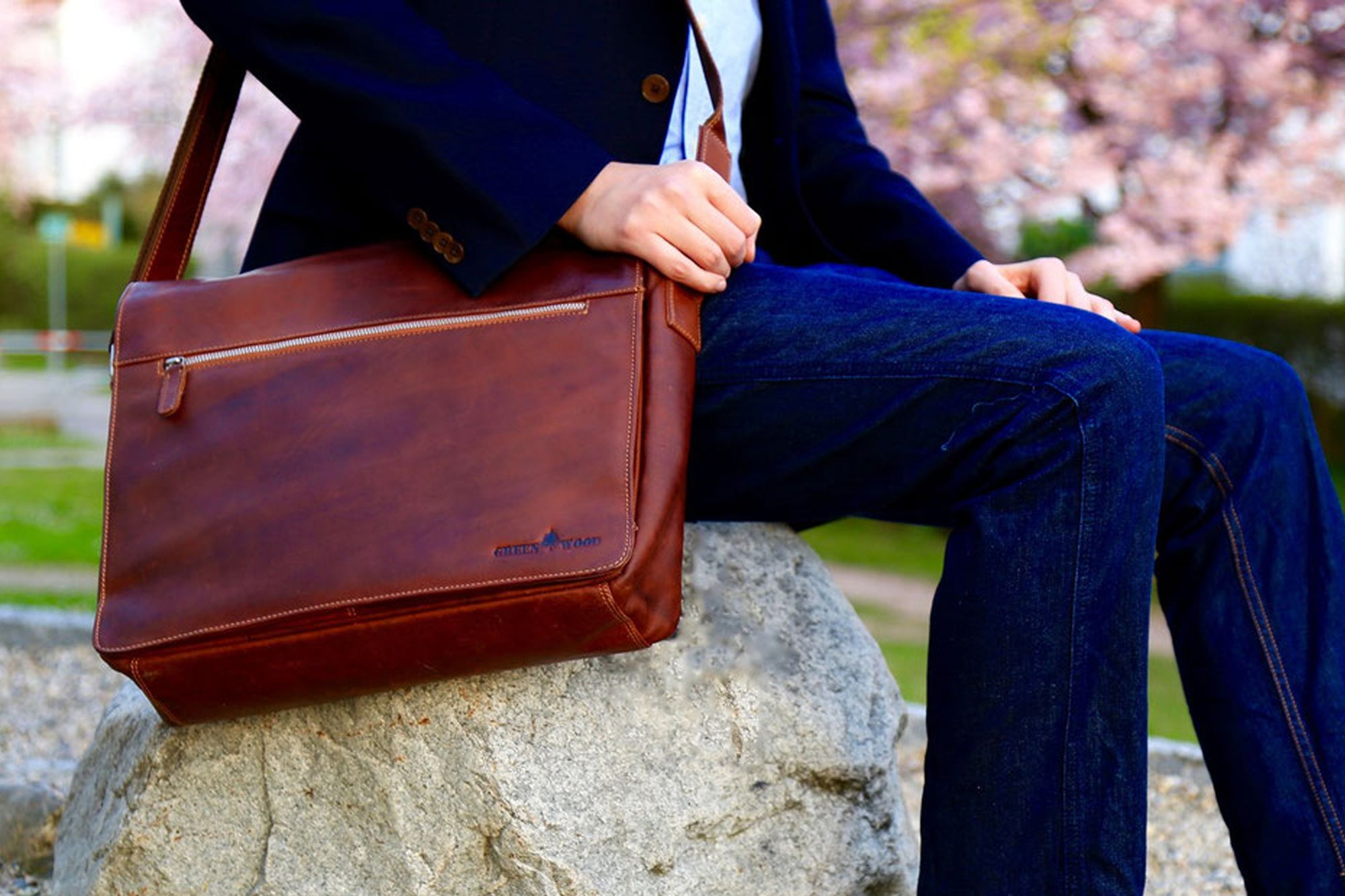 Genuine Leather Laptop Bag Shoulder Bag Messenger Bag