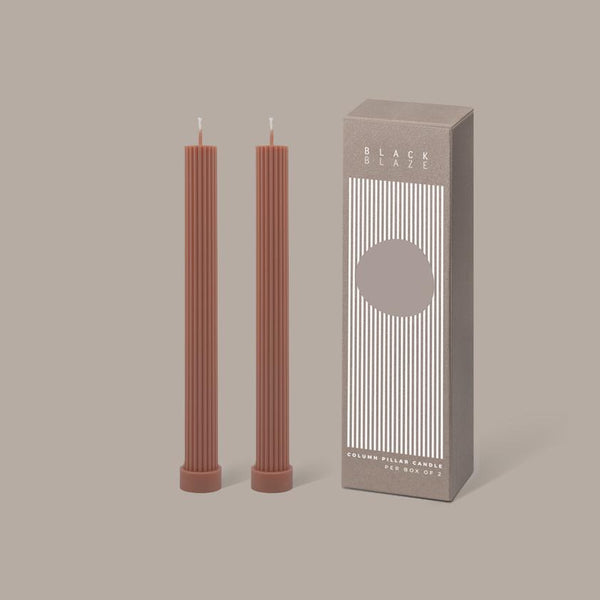 BLACK BLAZE - COLUMN PILLAR CANDLE DUO PEACH