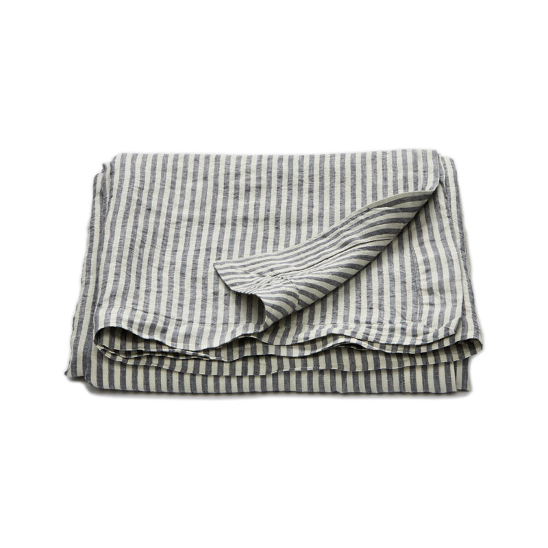 InBed - 100% Linen Table Cloth Navy & white Stripe