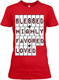 BLESSED HIGHLY FAVORED AND LOVED (Black, Navy and Red) - PeculiarPeople StandOut Christian Apparel