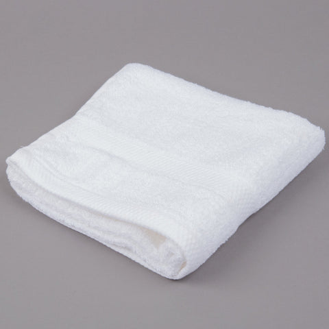 "16"" x 30"" White 100% Combed Egyptian Cotton Hotel Hand Towel 3.5 lb. - 12/Pack"