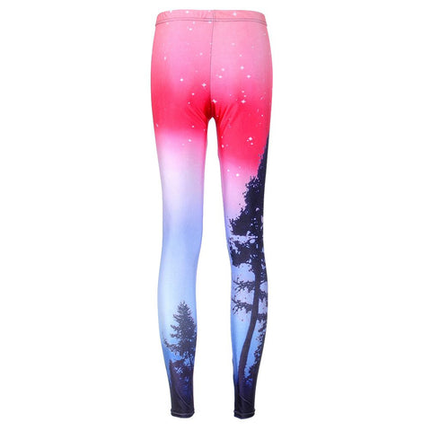 Aurora Sky Printed Neon Purple Sexy Colourful Mid Waisted Women Casual Leggings - Single Color