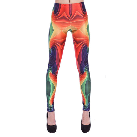 3D Simulated Mid Waisted Women Printed Leggings - 10 Colors
