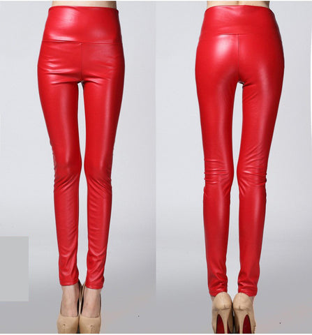 Autumn Winter Sexy Faux Leather Multicolour Women High Waisted Spandex Leggings - 6 Colors